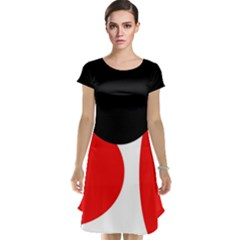 Red, Black And White Cap Sleeve Nightdress by Valentinaart