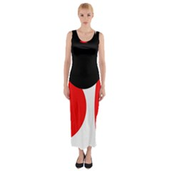 Red, Black And White Fitted Maxi Dress by Valentinaart