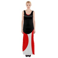 Red, Black And White Maxi Thigh Split Dress
