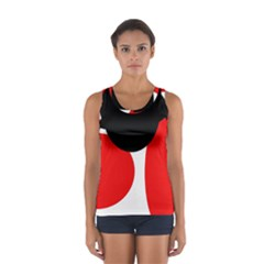 Red, Black And White Women s Sport Tank Top  by Valentinaart
