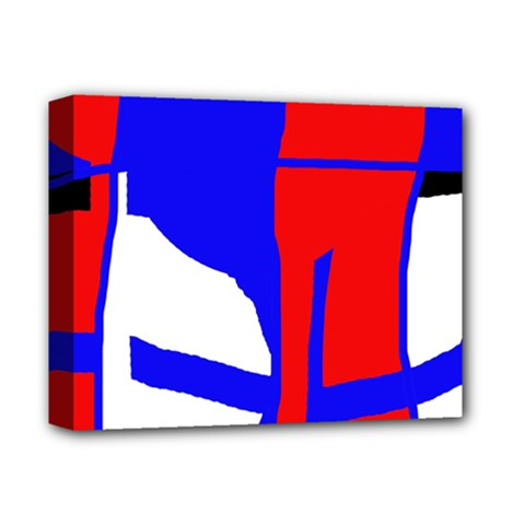 Blue, Red, White Design  Deluxe Canvas 14  X 11  by Valentinaart