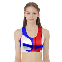 Blue, Red, White Design  Sports Bra With Border by Valentinaart