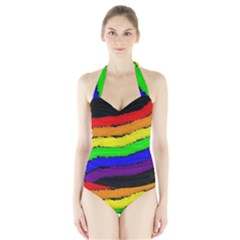 Rainbow Halter Swimsuit by Valentinaart