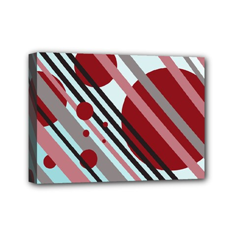 Colorful Lines And Circles Mini Canvas 7  X 5  by Valentinaart