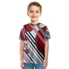 Colorful Lines And Circles Kid s Sport Mesh Tee by Valentinaart