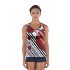 Colorful Lines And Circles Women s Sport Tank Top  by Valentinaart