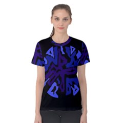 Deep Blue Abstraction Women s Cotton Tee by Valentinaart