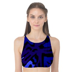 Deep Blue Abstraction Tank Bikini Top by Valentinaart