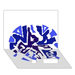 Deep Blue Abstraction Love Bottom 3d Greeting Card (7x5)  by Valentinaart