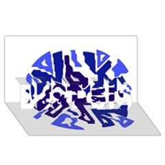 Deep Blue Abstraction Best Sis 3d Greeting Card (8x4)  by Valentinaart