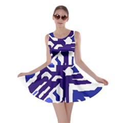 Deep Blue Abstraction Skater Dress by Valentinaart