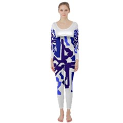 Deep Blue Abstraction Long Sleeve Catsuit by Valentinaart