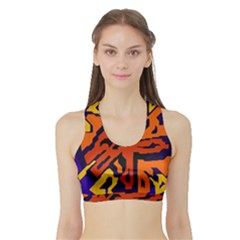 Orange Ball Sports Bra With Border by Valentinaart