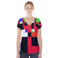 Colorful Abstraction Short Sleeve Front Detail Top by Valentinaart