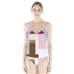 Colorful Abstraction Halter Swimsuit by Valentinaart