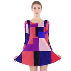 Colorful Abstraction Long Sleeve Velvet Skater Dress by Valentinaart