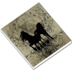 Wonderful Black Horses, With Floral Elements, Silhouette Small Memo Pads by FantasyWorld7