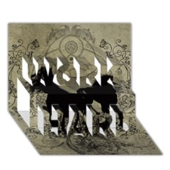 Wonderful Black Horses, With Floral Elements, Silhouette Work Hard 3d Greeting Card (7x5)  by FantasyWorld7