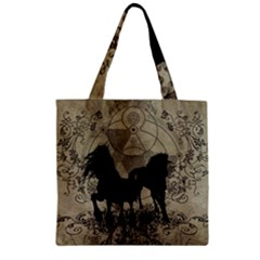 Wonderful Black Horses, With Floral Elements, Silhouette Zipper Grocery Tote Bag by FantasyWorld7