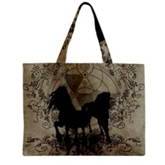 Wonderful Black Horses, With Floral Elements, Silhouette Zipper Mini Tote Bag by FantasyWorld7