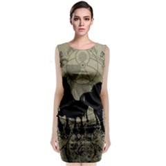 Wonderful Black Horses, With Floral Elements, Silhouette Classic Sleeveless Midi Dress