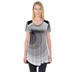 Gray Abstraction Short Sleeve Tunic