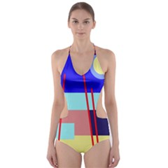 Abstract Landscape Cut Out One Piece Swimsuit