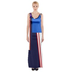 Decorative Abstraction Maxi Thigh Split Dress