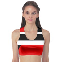 Red, White And Black Abstraction Sports Bra by Valentinaart