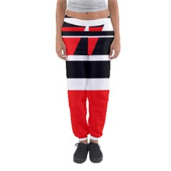 Red, White And Black Abstraction Women s Jogger Sweatpants by Valentinaart