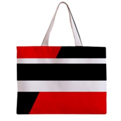 Red, White And Black Abstraction Zipper Mini Tote Bag by Valentinaart