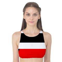 Red, White And Black Abstraction Tank Bikini Top by Valentinaart