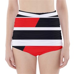 Red, White And Black Abstraction High-waisted Bikini Bottoms by Valentinaart
