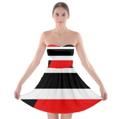 Red, White And Black Abstraction Strapless Dresses by Valentinaart
