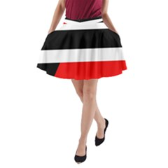 Red, White And Black Abstraction A Line Pocket Skirt