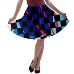 Blue Abstraction A-line Skater Skirt by Valentinaart