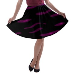 Purple And Black A-line Skater Skirt by Valentinaart