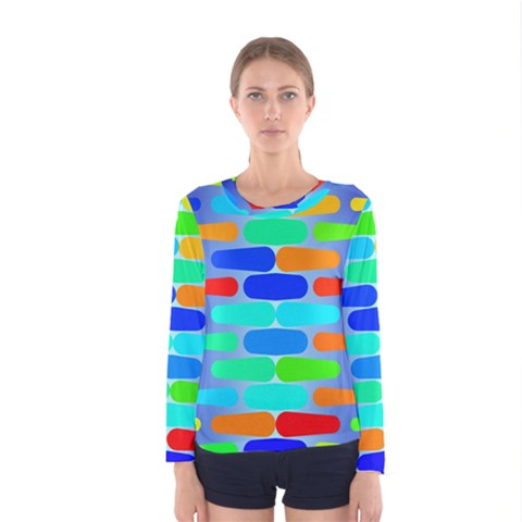 Colorful Shapes On A Blue Background                                                                                       Women Long Sleeve T-shirt by LalyLauraFLM