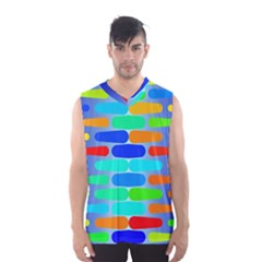 Colorful Shapes On A Blue Background                                                                                       Men s Basketball Tank Top by LalyLauraFLM