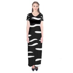 Black And White Short Sleeve Maxi Dress by Valentinaart