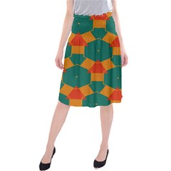 Honeycombs And Triangles Pattern                           Midi Beach Skirt by LalyLauraFLM