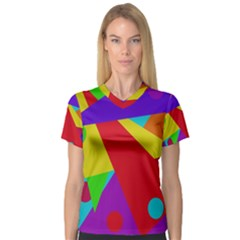 Colorful Abstract Design Women s V Neck Sport Mesh Tee by Valentinaart
