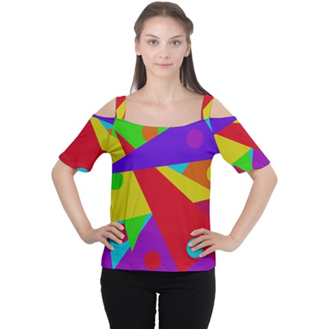 Colorful Abstract Design Women s Cutout Shoulder Tee by Valentinaart