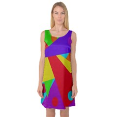 Colorful Abstract Design Sleeveless Satin Nightdress by Valentinaart