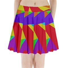Colorful Abstract Design Pleated Mini Mesh Skirt by Valentinaart