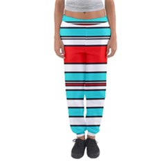 Blue, Red, And White Lines Women s Jogger Sweatpants by Valentinaart