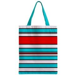 Blue, Red, And White Lines Zipper Classic Tote Bag by Valentinaart