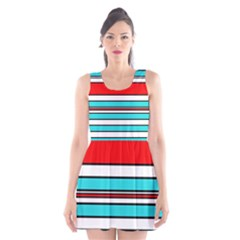 Blue, Red, And White Lines Scoop Neck Skater Dress by Valentinaart