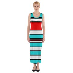Blue, Red, And White Lines Fitted Maxi Dress by Valentinaart