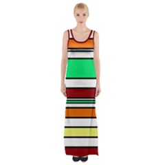 Green, Orange And Yellow Lines Maxi Thigh Split Dress